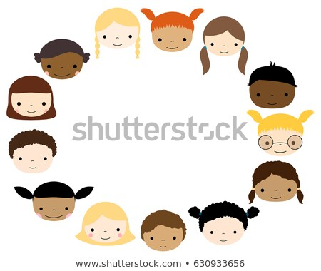 Oval Frame With Cute Kids Faces - Boys And Girls Stockfoto © Pravokrugulnik