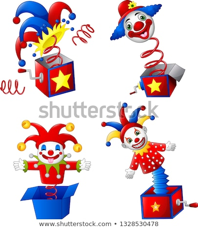 funny christmas clown smile jumps out of box stock photo © orensila