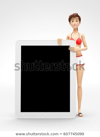 Tablet Device Mockup With Blank Screen - Smiling and Happy 3D Bikini Character Stock photo © Loud-Mango