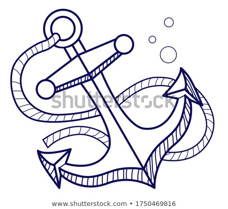 vector cartoon style ship anchor icon for web isolated on whit stock photo © curiosity