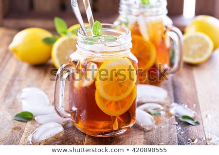 Frissítő ice tea tökéletes ital forró nyár Stock fotó © klsbear