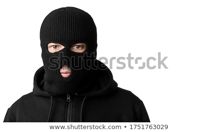 Foto stock: Robber Wearing Balaclava Isolated On White