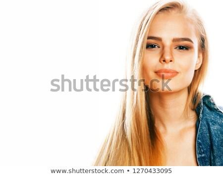 gelukkig · blond · vrouw · cardigan - stockfoto © iordani