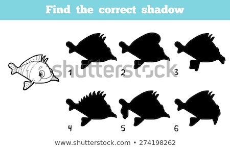 match the shadow kids puzzle game with fish stock photo © adrian_n