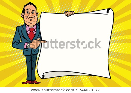 Smiling businessman boss showing on the mockup copy space poster Stock photo © rogistok