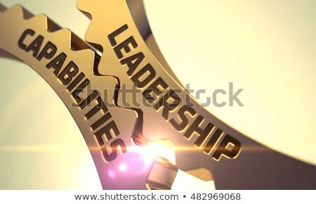 Leadership Capabilities Concept. Golden Metallic Cog Gears. 3D. Stock photo © tashatuvango