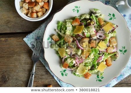 Kínai káposzta saláta kenyér narancs márványsajt Stock fotó © Digifoodstock