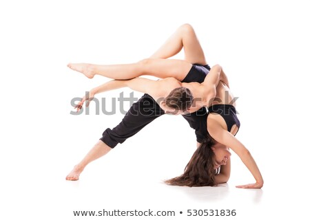Acrobático dança par pose isolado horizontal Foto stock © julenochek