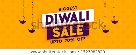 happy diwali sale banner design with diya lamp stock photo © sarts