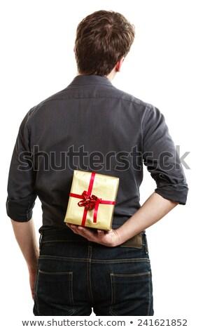 Mikulás rejtőzködik ajándék doboz mögött hát hátsó nézet Stock fotó © wavebreak_media