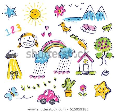 El çizim gökkuşağı kalp renk kalemler Stok fotoğraf © Sonya_illustrations