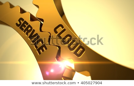Foto stock: Cloud Security On Golden Metallic Gears