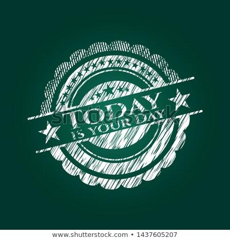 Ma nap kézzel rajzolt zöld tábla firka Stock fotó © tashatuvango