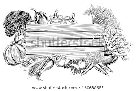 thanksgiving produce vegetable and fruits sign stock photo © krisdog
