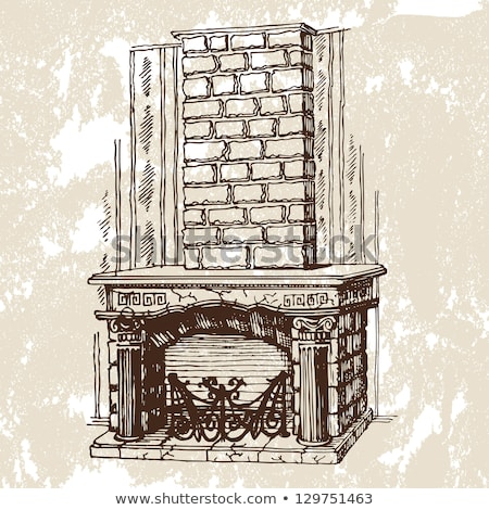 Brick Fireplace vector illustration clip-art image  stock photo © vectorworks51