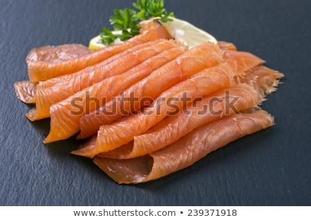лосося · Ломтики · черный · икра · продовольствие - Сток-фото © m-studio
