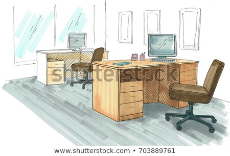 Open Space office. Workplaces outdoors. Tables, chairs and windows. A bright sketch drawn by markers Stock photo © Arkadivna