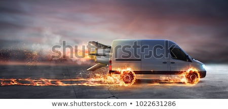 súper · rápido · entrega · paquete · servicio · van - foto stock © alphaspirit
