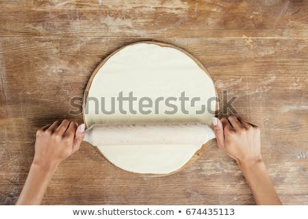 Kezek sodrófa főzés ravioli asztal konyha Stock fotó © ssuaphoto