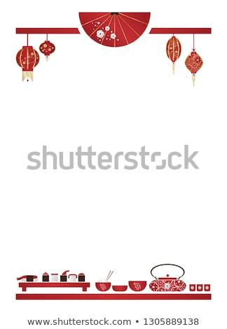 Sınır şablon sushi örnek gıda Stok fotoğraf © bluering