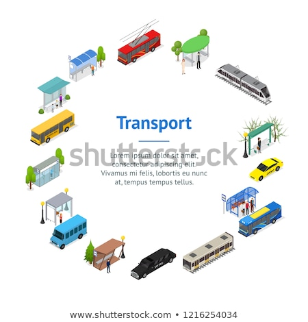 Trolleybus, taxi and train station posters Stock photo © studioworkstock