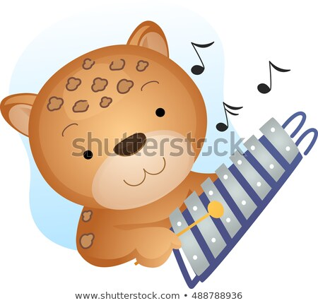 Stock photo: Mascot Music Cheetah Xylophone