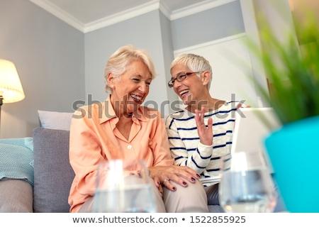 senior · vrouw · gelukkig · vrouwen · licht · Blauw - stockfoto © FreeProd