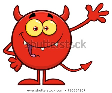 Mutlu kırmızı şeytan karikatür karakter Stok fotoğraf © hittoon