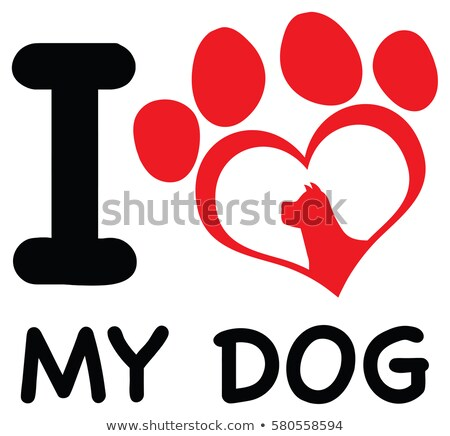 Red Heart Paw Print With Claws And Dog Head Silhouette Logo Design Stock photo © hittoon