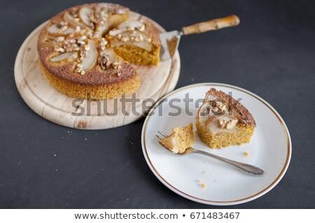 polenta cake with pears and walnuts stock photo © glorcza