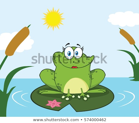 Smiling Frog Female Cartoon Mascot Character Perched On A Pond Lily Pad In Lake Stock photo © hittoon