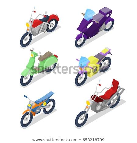 Gép versenyzés szett izometrikus motor motorkerékpár Stock fotó © popaukropa