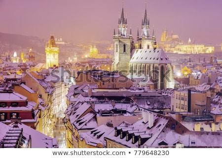 kış · Prag · şehir · panorama · katedral · saat - stok fotoğraf © benkrut