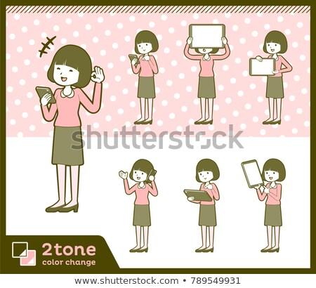 typu · prosto · włosy · bluzka · książki · kobiet - zdjęcia stock © toyotoyo