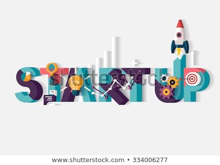 Inicio hasta negocios proyecto plantilla de diseño línea Foto stock © Genestro