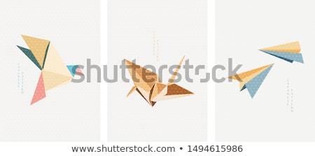 бумаги оригами крана птица шаблон искусства Сток-фото © cienpies