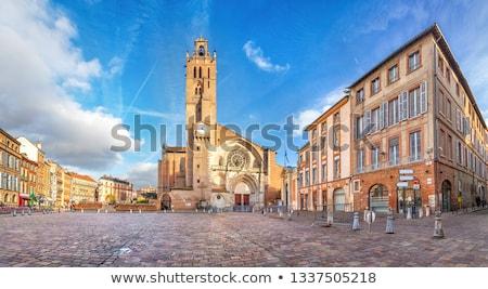 Catedral cidade pôr do sol azul linha do horizonte arquitetura Foto stock © benkrut