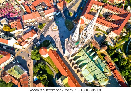 Zagreb cathedral and Dolac marketplace aerial view Stock photo © xbrchx