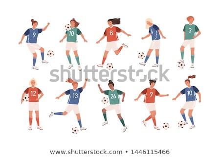 Cartoon uśmiechnięty piłkarz kobieta uśmiechnięta kobieta piłka nożna Zdjęcia stock © cthoman