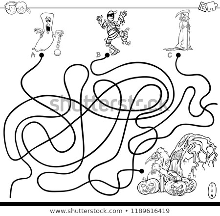 lines maze game with spooky halloween characters stock photo © izakowski