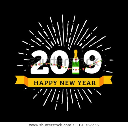 Congratulations to the happy new 2019 year with a bottle of champagne, flags. Vector Stock photo © m_pavlov