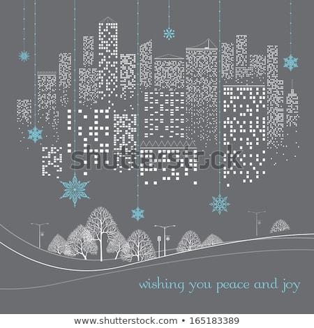 karácsonyi · üdvözlet · éjszaka · város · hó · fa · fény - stock fotó © cienpies