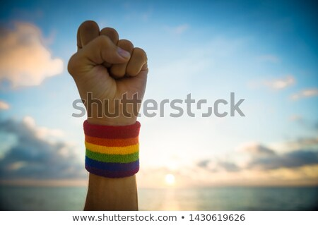 hands with gay pride wristbands in winning gesture Stock photo © dolgachov