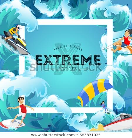 Windszörf nyár sport tevékenység férfi szörfdeszka Stock fotó © robuart