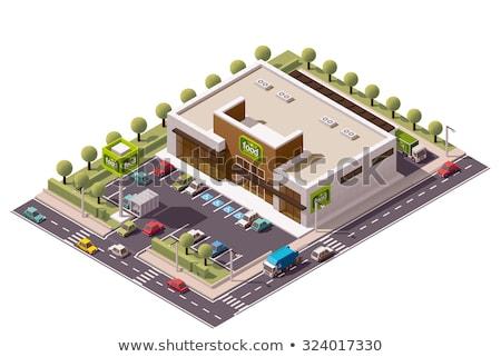 вектора изометрический реклама стоянка низкий Открытый Сток-фото © tele52