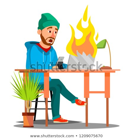 Stock photo: Scared Employees Sitting At The Table And Burning With Fire Laptop Vector. Isolated Illustration