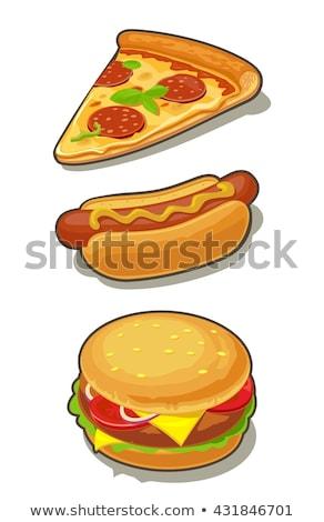 Hamburger pizza slice Italiaans monochroom schets ingesteld Stockfoto © robuart