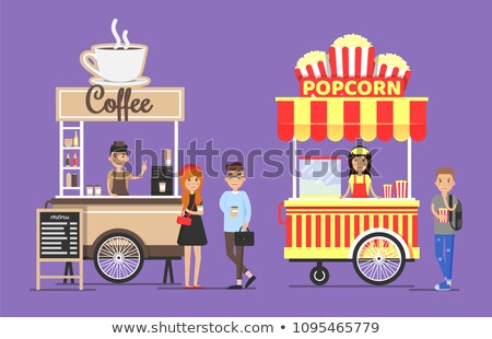 Coffee and Popcorn Sellers Vector Illustration Stock photo © robuart