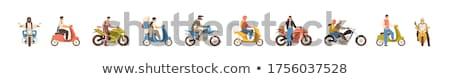 Sportbike motorcycle vector cartoon illustration Stock photo © jeff_hobrath
