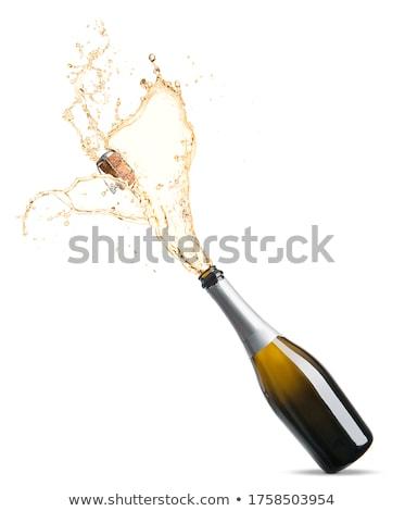 Foto d'archivio: Champagne · bottiglia · apertura · decorazioni · sfondo · spazio